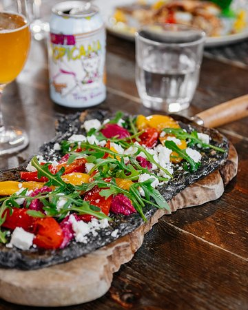 The Botanist: Charcole Flat Bread - Beetroot, Roast Peppers and Feta Puree