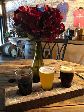 The Corkscrew Winery: Order and flight and you can mix & match! I got 1 bourbon barrel aged red and 2 different beers.