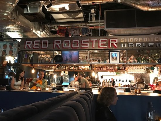 Red Rooster Shoreditch: The bar - probably the liveliest part of the restaurant