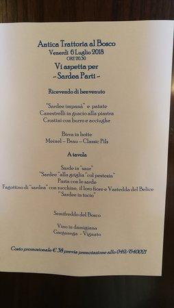 Antica Trattoria Al Bosco: menu serata