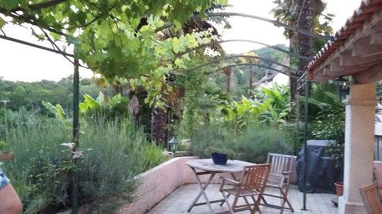 Chambres d'hotes L'Horizon: Terrasse surplombant le jardin.