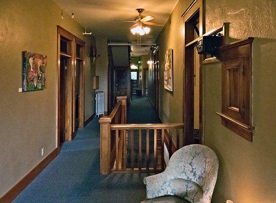 Dufur, OR: 2nd Floor Hallway. Wood frames.