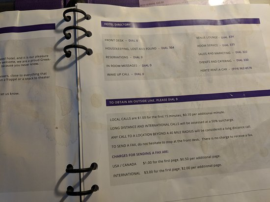Coffee stains on the info book in room