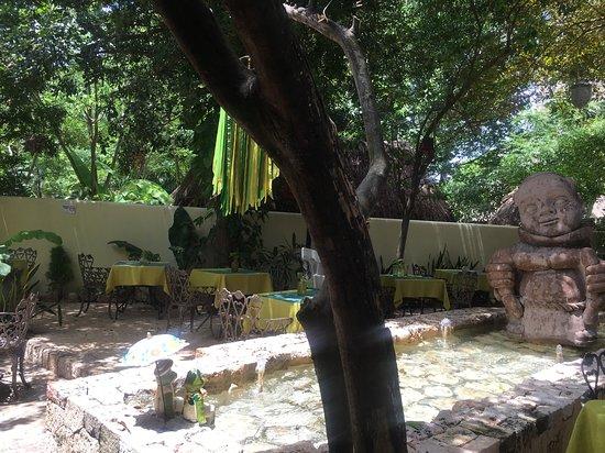Restaurante El Atrio del Mayab: Outside dining area with water feature