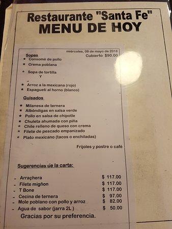 Restaurante Santa Fe: Menu del día