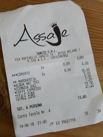 Pizzeria Assaje - Sanzio: scontrino