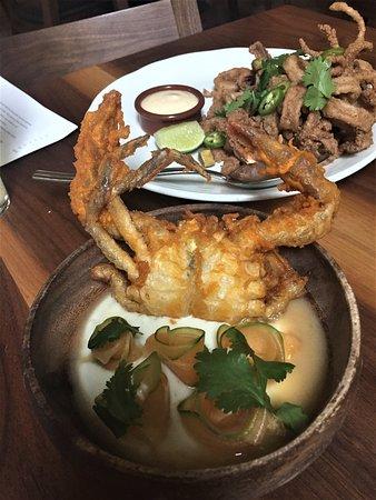 Martina: Fried Soft Shell Crab served w/ lime yogurt paired w/ cilantro & cantaloupe and Cinnamon Calamar