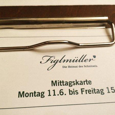 Figlmueller: Il menù
