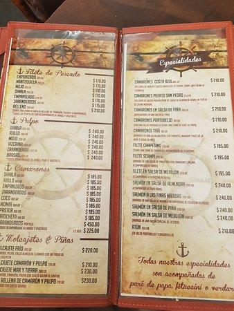Mariscos Puerto San Pedro: Carta