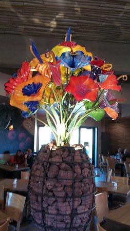 The beautiful glass flower arrangement at Wildflower