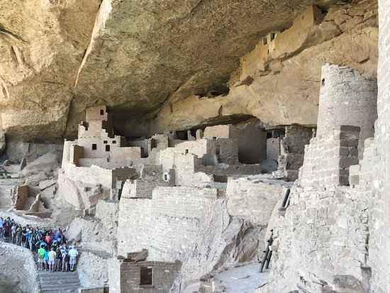 In the Cliff Palace (the next tour group is to the left)
