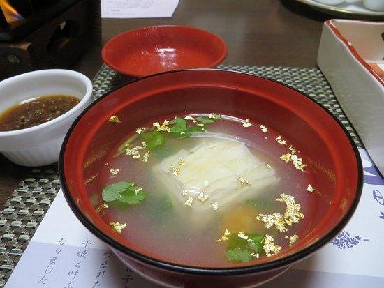 Nikko Senhime Monogatari: yuba in edible gold leaf broth