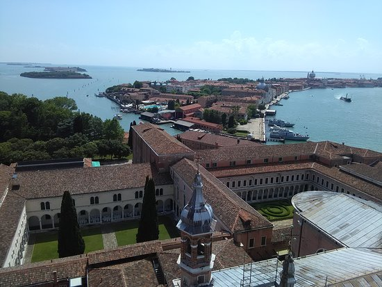 view from San Giorgio Maggiore bell tower towards back of Venice