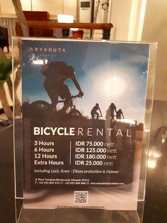Aryaduta Manado: Rental sepeda