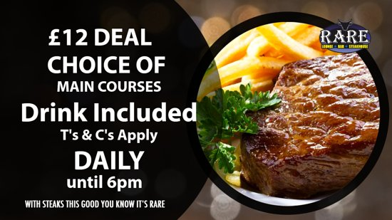 ‪‪Rare Lounge Bar & Steakhouse Newcastle‬: £12 Deal‬