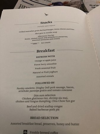 Cathay Pacific: Snack and breakfast menu