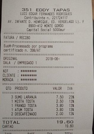 351 Eddy Tapas: factura