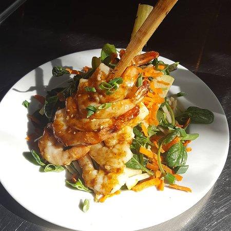 North Star House :  shrimp skewer salad