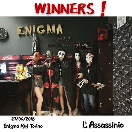 """Enigma Mr. J Escape Room: WINNERS! della stanza """"L'ASSASSINIO""""!"""