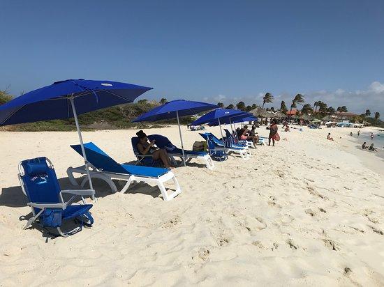 OCEANZ Boutique Hotel Aruba: Ocean Z chairs and umbrellas at Arashi Beach