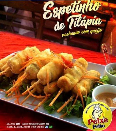 Restaurante e Petiscaria Peixe Frito: ESPETINHO DE TILÁPIA (Tilápia em cubos com mussarela empanado)