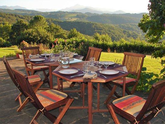 Les Clarines: Table d'hôtes sur la terrasse