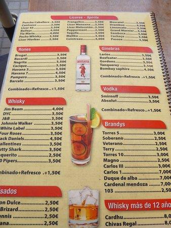 TABERNA DEL PORT: Precios de bebidas