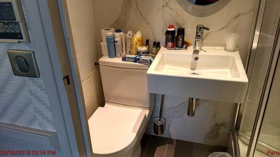 Hotel Longchamp Elysees : Baño más que pequeño.