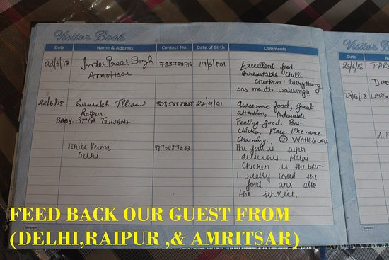 Charming Chicken: FEED BACK FROM OUR GUEST FROM (DELHI ,RAIPUR , & AMRITSAR)