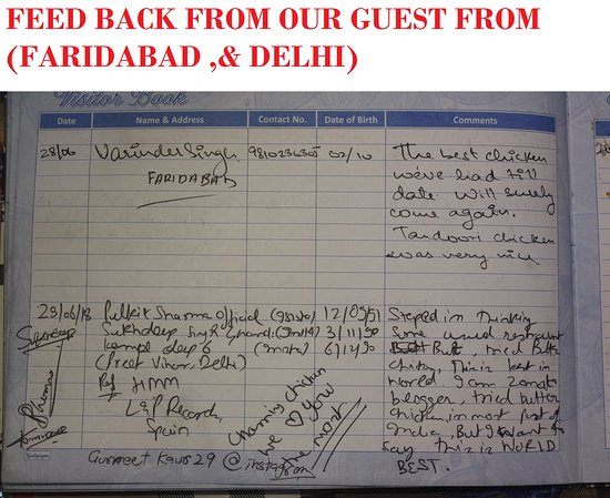 Charming Chicken: FEED BACK FROM OUR GUEST FROM (DELHI)) & FARIDABAD