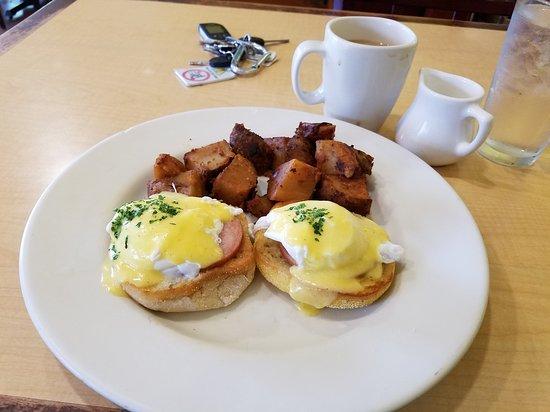Mililani, HI: Eggs Benedict and fried potatos