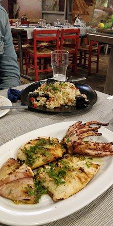 Bazagiazi: Grilled calamari and seafood risotto