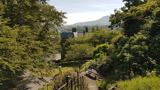 Clitheroe Castle: View over town to Pendle Hill