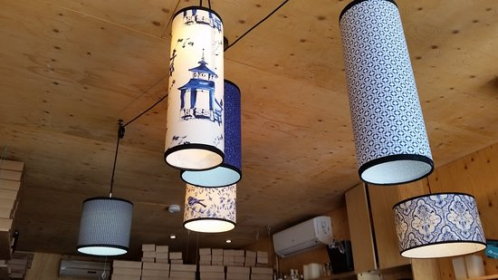 Ceiling lamps at Sushi Taxi.