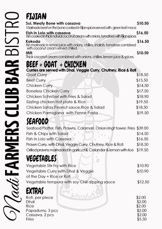 The New Nadi Farmers Club: Nadi farmers Bistro menu