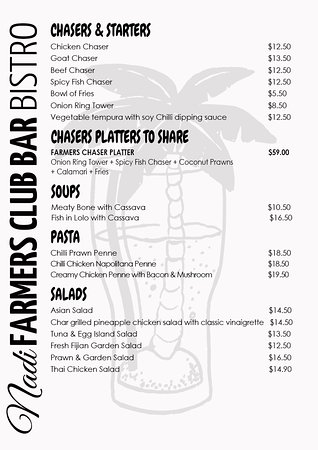 The New Nadi Farmers Club: Nadi Farmers Bistro Starters & Chasers menu