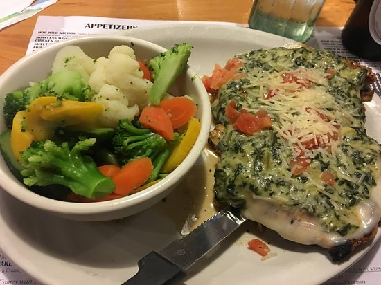 Cresco, IA: chicken florentine with steamed veggies