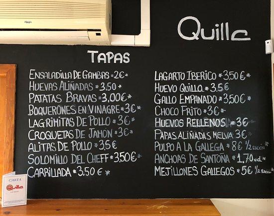 Bar Restaurante Quilla Las Redes: Pizarra de tapas