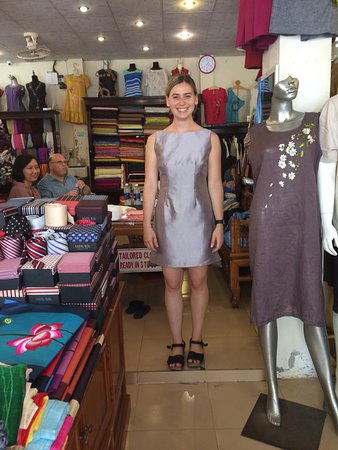 Gia Huy Silk Tailor Shop: A beautyful girl with many dresses tailor made in Gia Huy shop