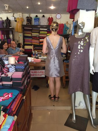 Gia Huy Silk Tailor Shop: A beautiful girl with many dresses tailor made in Gia Huy shop