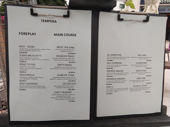 The Menu At Tempera Picture Of Tempera Streetfood Bar Makarska Tripadvisor