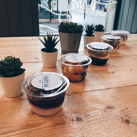 Drift-In: Our breakfast granola and fruit pots, perfect for grabbing on your morning commute  to work