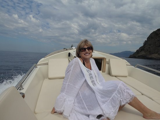 Portofino Taxi Boat: Lounging on the comfortable and beautifully maintained leather seating at front of speed boat