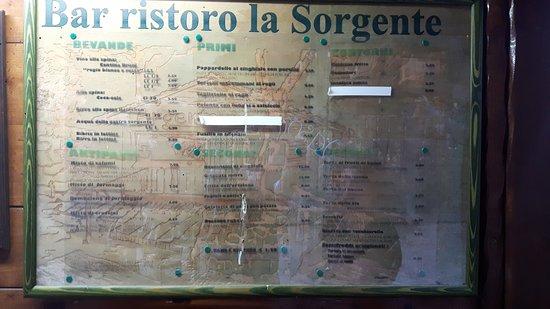 La Sorgente: Menù