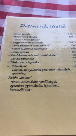 Retro-Kisvendeglo: list of deserts at Retro restaurant
