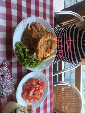 Retro-Kisvendeglo: pork shoulder with fries and tomato salad