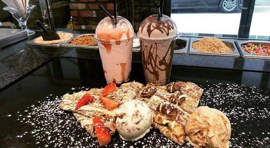 Cafe Mauds Newcastle: Kinder, nutella & White choc crepe/ Stawberry & white choice crepe with milkshakes