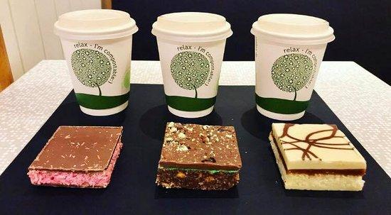 Cafe Mauds Newcastle: Raspberry ruffle, mint dream, caramel & coconut slice
