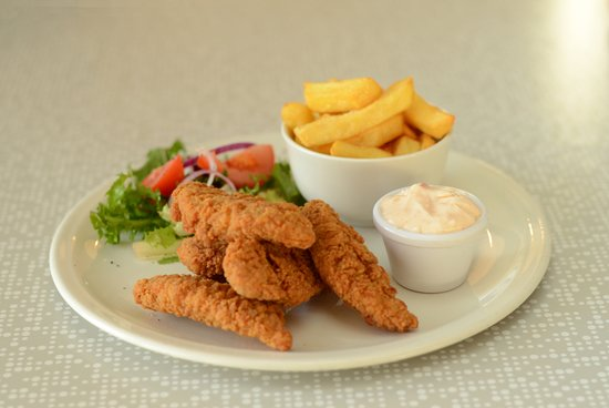 Chicken Goujon Meal Served With Chips And Sweet Chilli Mayo Dip