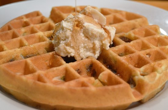 East Wareham, MA: Pecan Malted Belgium Waffle with real maple butter